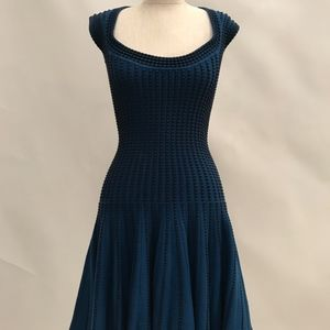 Midi knitted fitted Dress Blue and Black